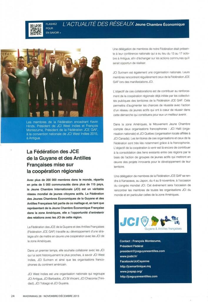 Article Caribmag JCE GAF Novembre Décembre 2015