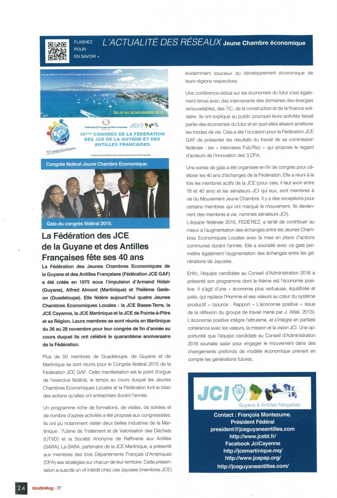 Article Caribmag JCE GAF Janvier Février 2016